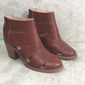 Seychelles brown leather ankle cutout booties, 7.5